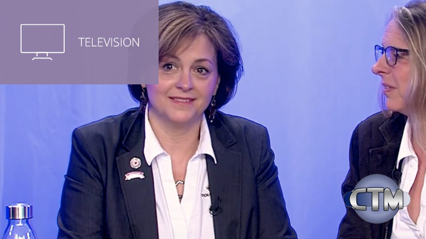 Video Still Of Jennifer Platt Beth Carrison With CTM Logo And White Sans-serif Type In Upper Left On Muted Lavender Background With Television Icon