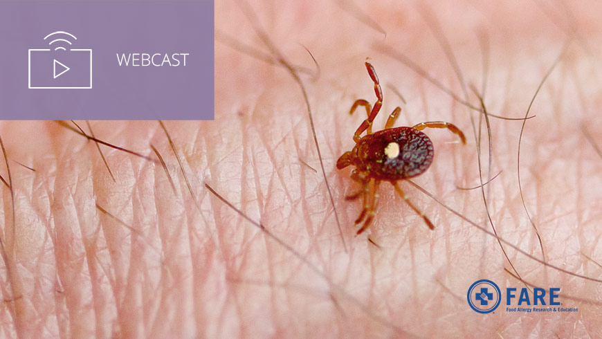Photo Of Lone Star Tick On Skin With FARE Logo And White Sans-serif Type In Upper Left On Muted Lavender Background With Webcast Icon