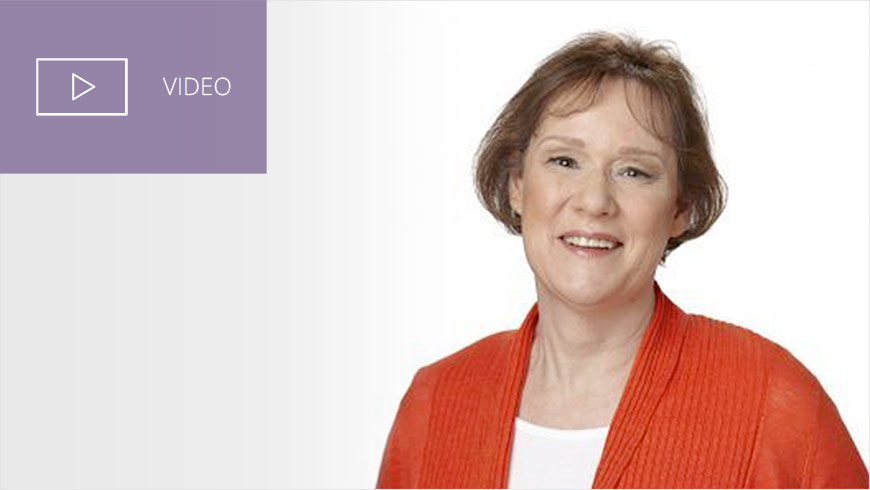 Photo Of Marlene Jones And White Sans-serif Type In Upper Left On Muted Lavender Background With Video Icon