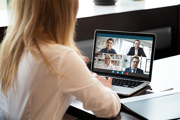 Blonde woman in a virtual meeting